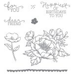 Birthday Blooms Wood-Mount Stamp Set