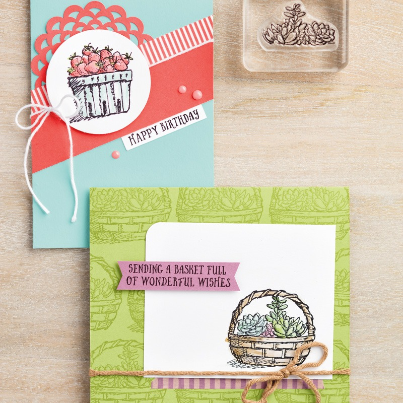Basket Of Wishes Photopolymer Stamp Set Sample Card