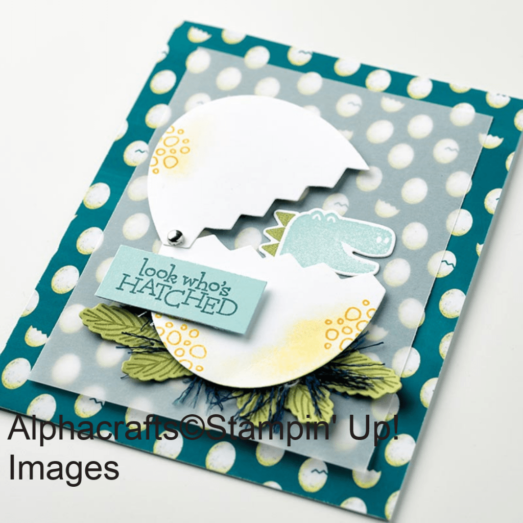 Card featuring a dinosaur hatching from an egg using the Dino Days stamp set and coordinating dies.