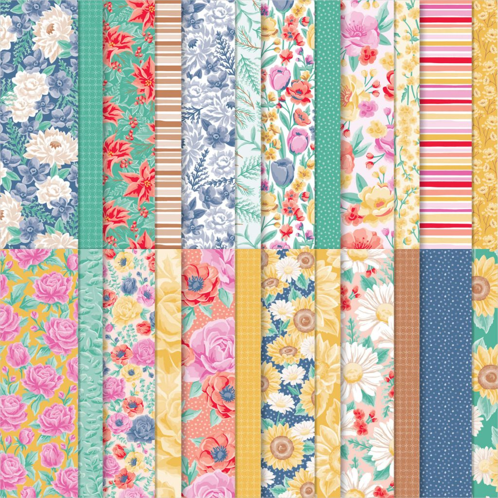 Double-sided printed papers with flowers, leaves, stripes and dots. Colours are from the new In Color 2020-2022.