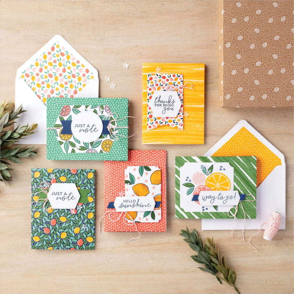Assorted cards featuring citrus fruits and colourful card stock and envelopes provided in the kit.