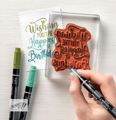 Image showing a technique on how to ink your rubber stamps with water-based markers from Stampin' Up!.