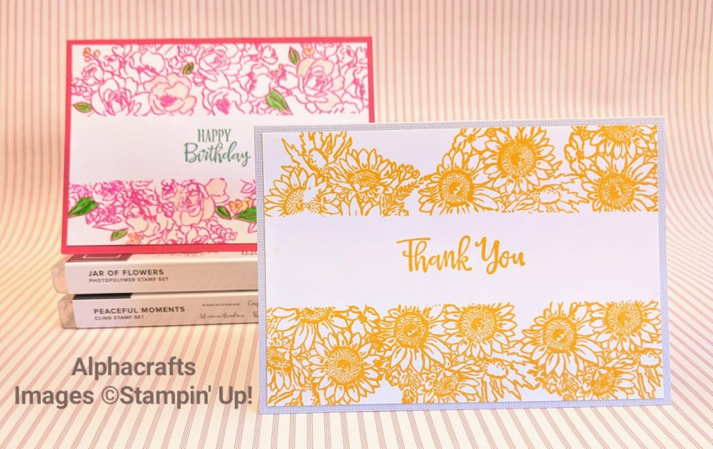 Cards showing a technique called Masking using Jar of Flowers by Stampin' Up!.