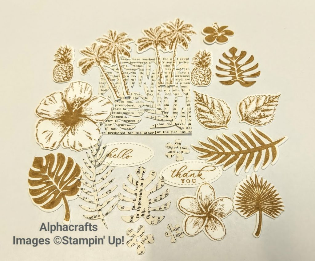 Hand stamped stickers of tropical leaves, flowers and pineapple using Tropical Timeless stamp set from Stampin' Up!.