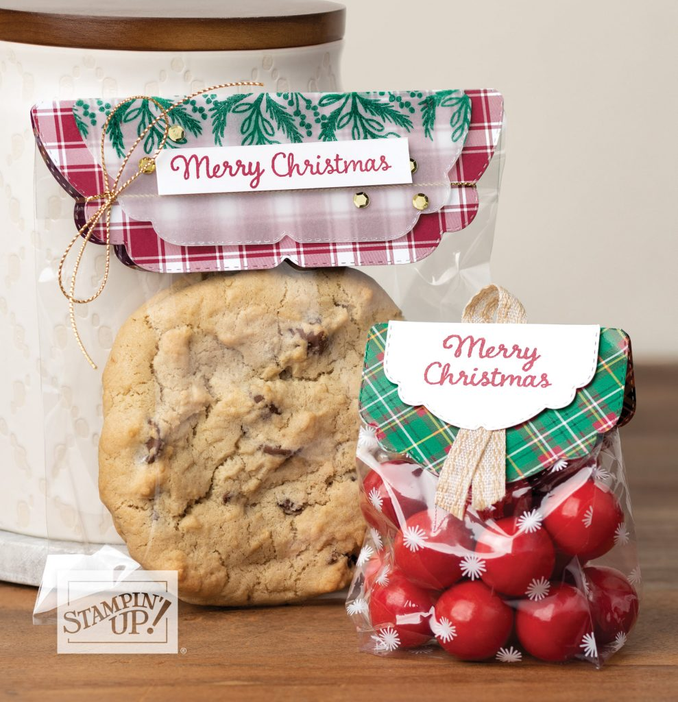 Cookie and candy packaging using Plaid Tidings Suite Collection by Stampin' Up!.