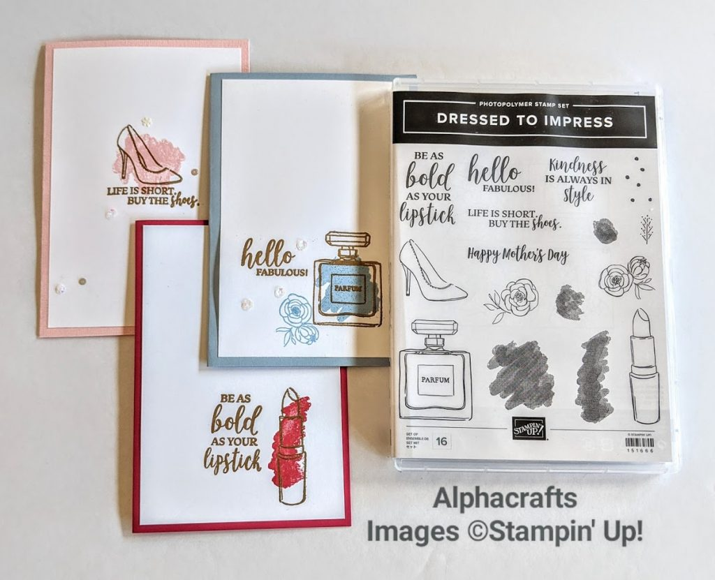 1 design layout for 3 cards using Dressed To Impress stamp set by Stampin' Up!.