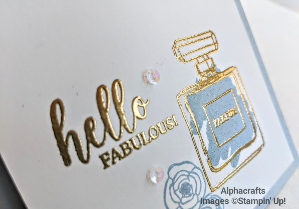 Card with perfume bottle using Dressed To Impress stamp set by Stampin' Up!.
