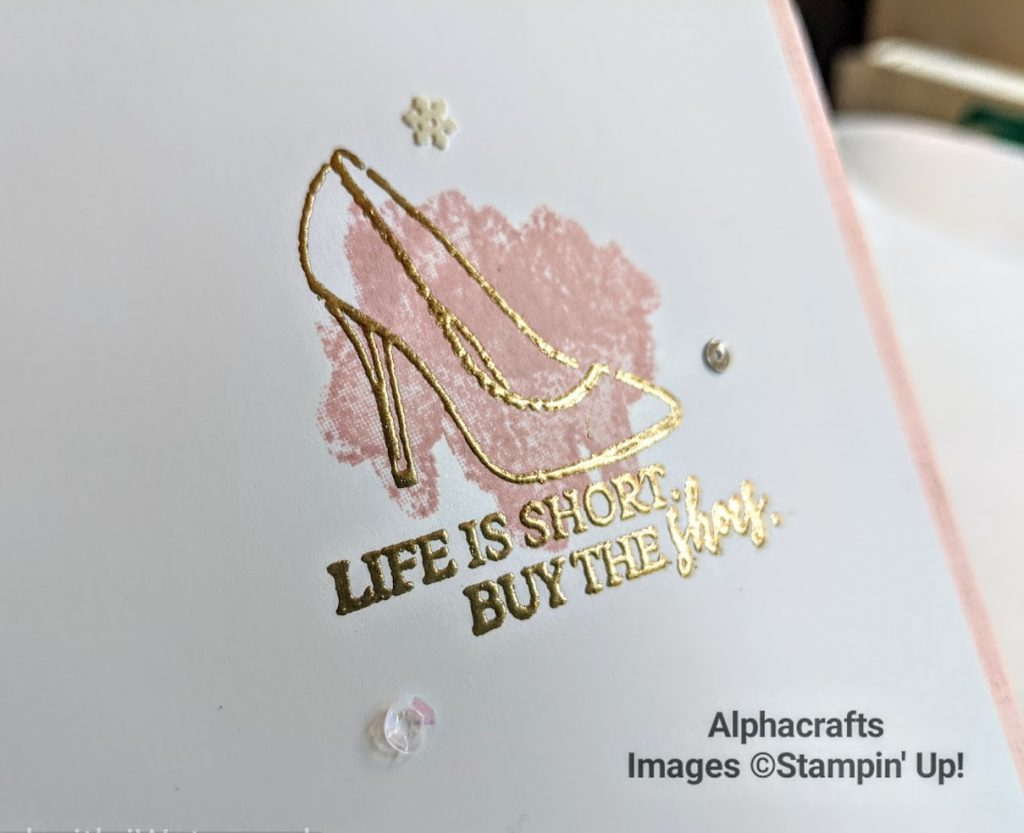 Card with shoe image from Dressed To Impress stamp set by Stampin' Up!.