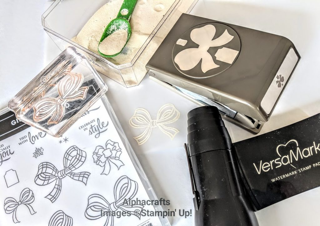 Gift Wrapped Bundle from Stampin' Up! and white embossing powder on vellum.