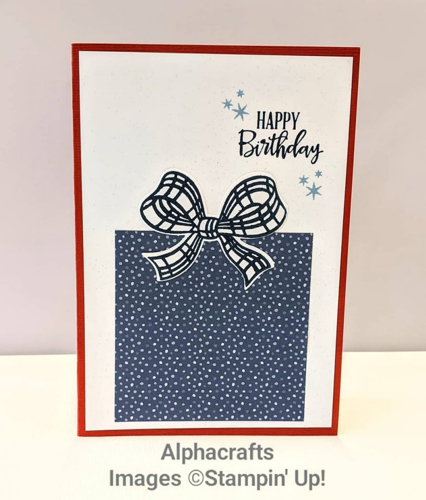 Birthday card that looks like a boxed gift using Gift Wrapped Bundle and Flowers For Every Season DSP from Stampin' Up!.