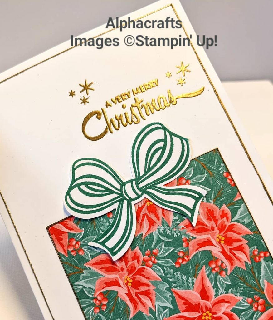 Christmas card that looks like a boxed gift using Gift Wrapped Bundle and Flowers For Every Season DSP from Stampin' Up!.