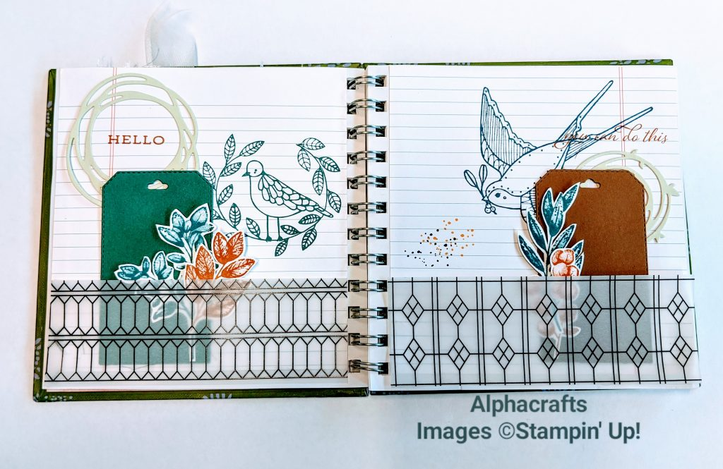 Journal spread that uses vellum, tags, Cheery Chirps and Forever Fern from Stampin' Up!