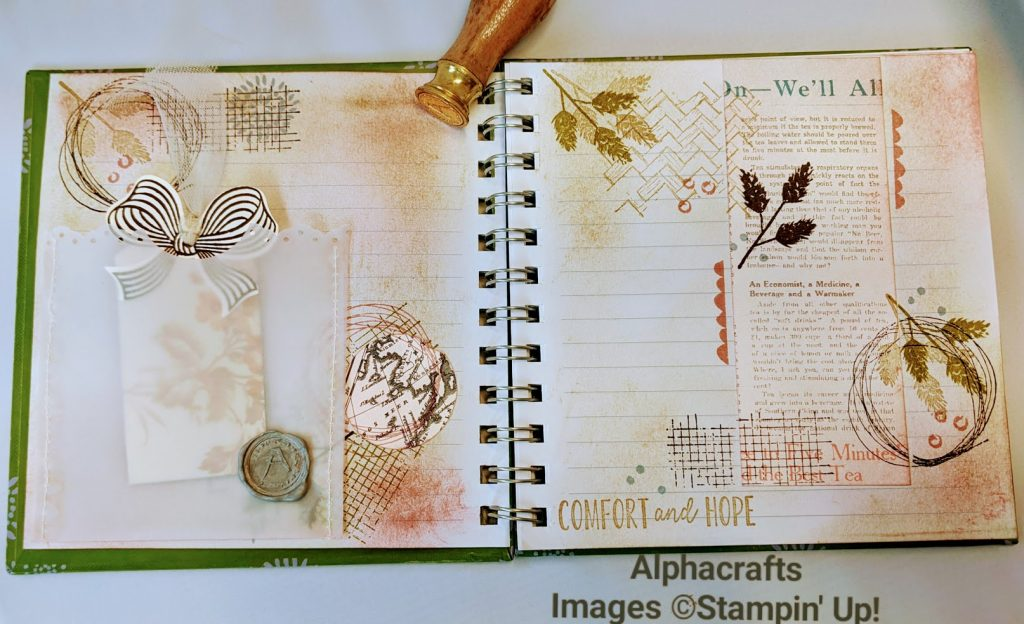 Journal spread using Comfort & Home stamp set from Stampin' Up!.