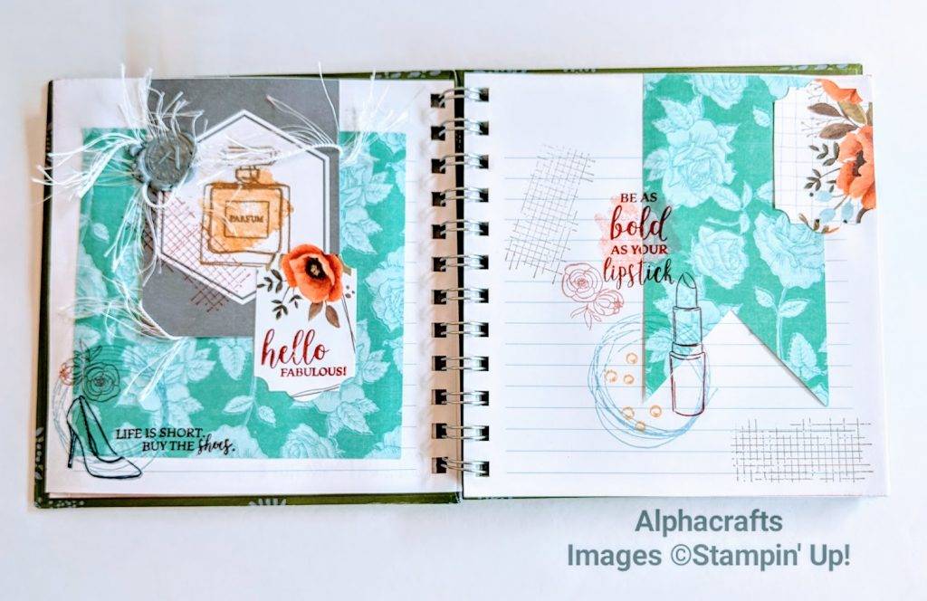 Journal spread using Dressed To Impress stamp set from Stampin' Up!.