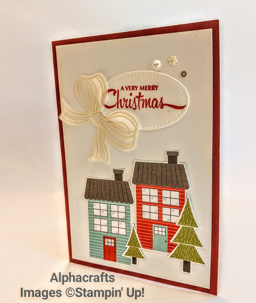 Christmas card using Trimming The Town DSP and Gift Wrapped Bundle from Stampin' Up!.