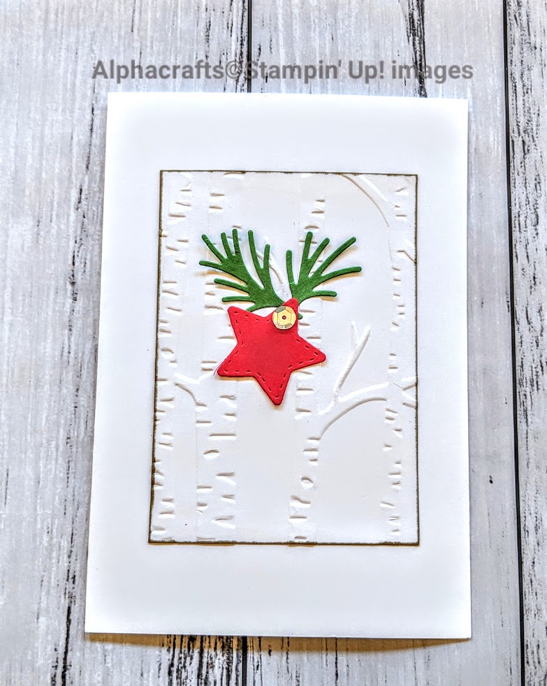 Christmas card using Woodland Embossing folder and the Mini Curvy Keepsakes Dies from Stampin' Up!.