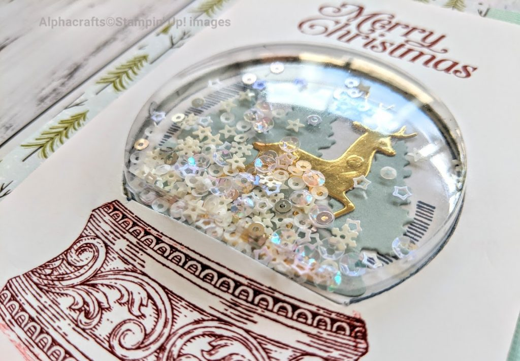 Snow globe shaker Christmas card using Still Scenes stamp set and Snow Globe Scenes dies from Stampin' Up!.
