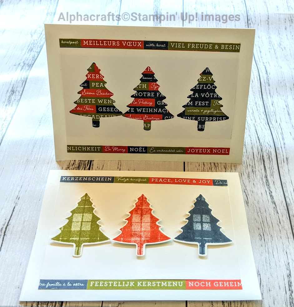 Christmas trees cards using Perfectly Plaid stamp set and Pine Tree Punch from Stampin' Up!.