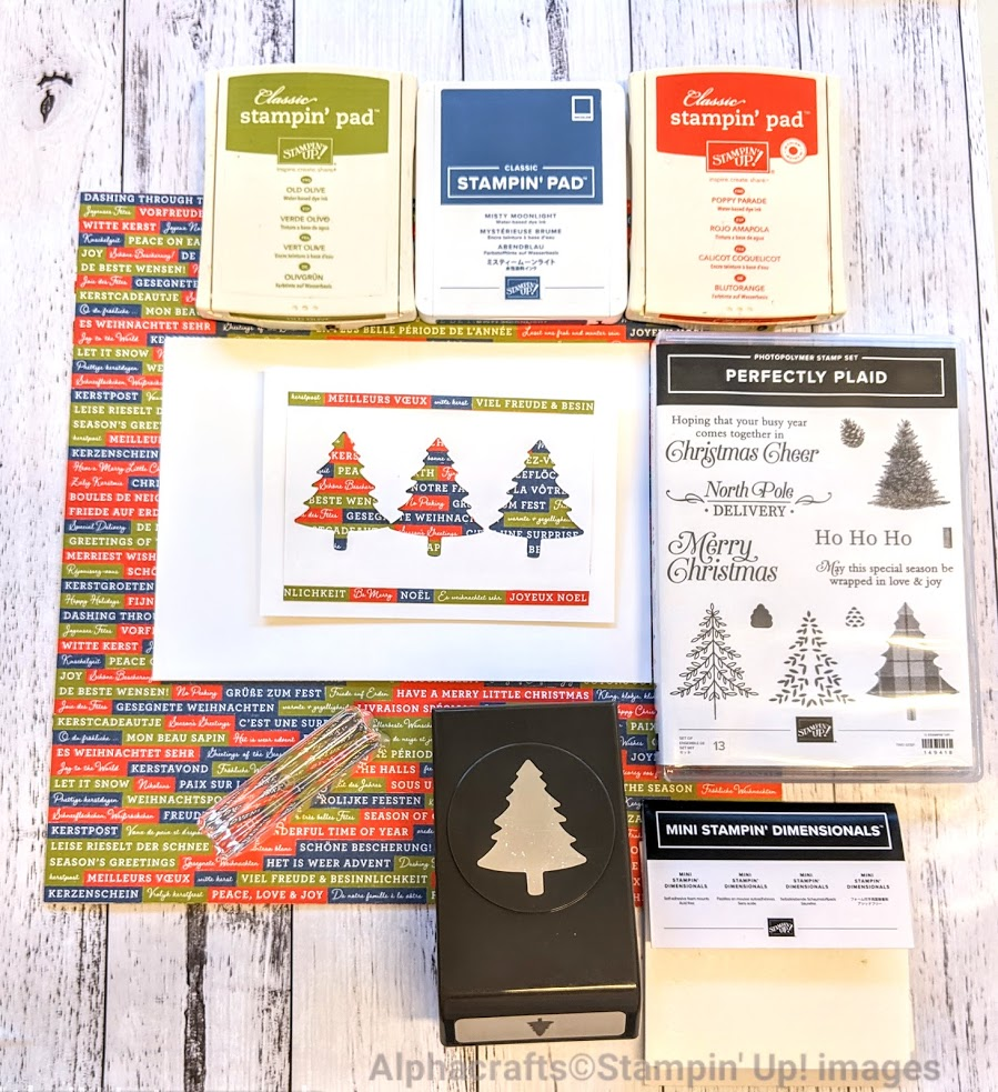 These are the materials needed to make Christmas trees cards - stamp set, punch, DSP and ink pads.