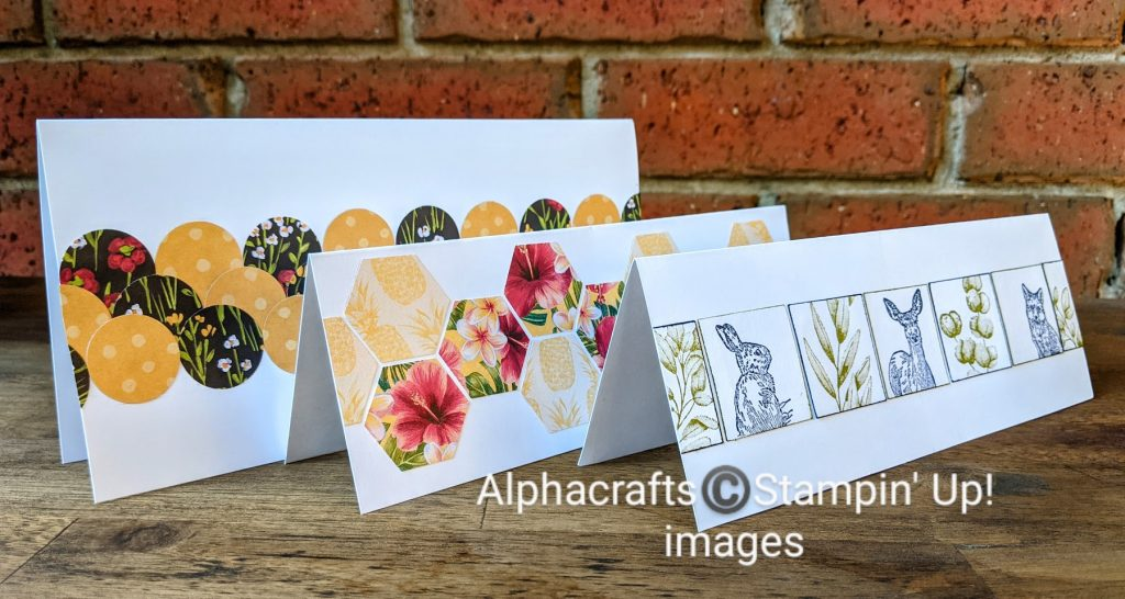 Punched shapes and stamped images to make slimline mosaic cards.
