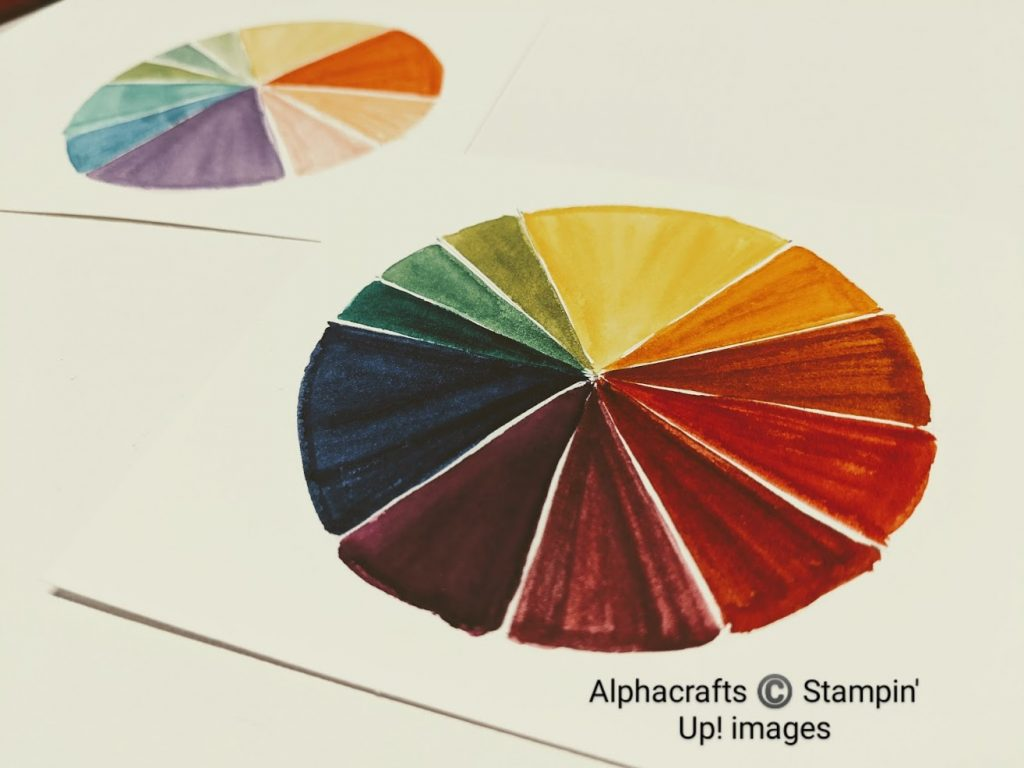 Image of a colour wheel using Regals Inks from Stampin' Up!.