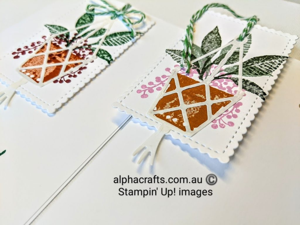 Close up image of Plentiful Plants stamps used in a card.